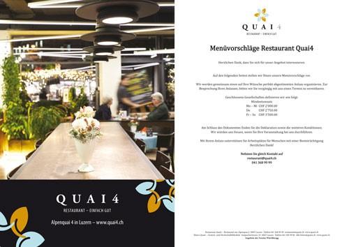Menükarte Restaurant Quai4