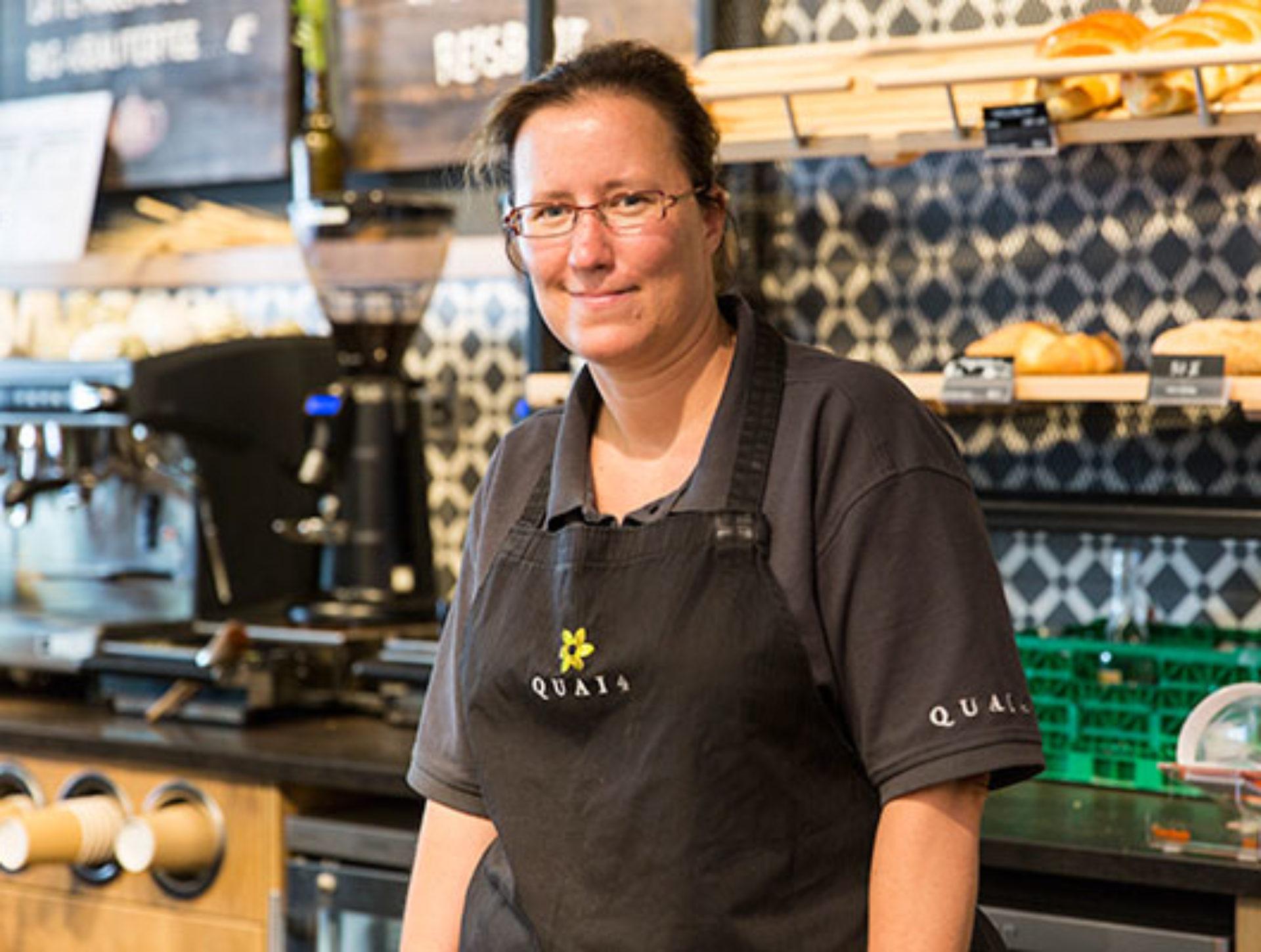 Denise Mercier, Mitarbeiterin Quai4-Markt: «Ich feiere heute ebenfalls mein Fünf-Jahr-Jubiläum und bin stolz, dass ich seit Beginn dabei bin!»