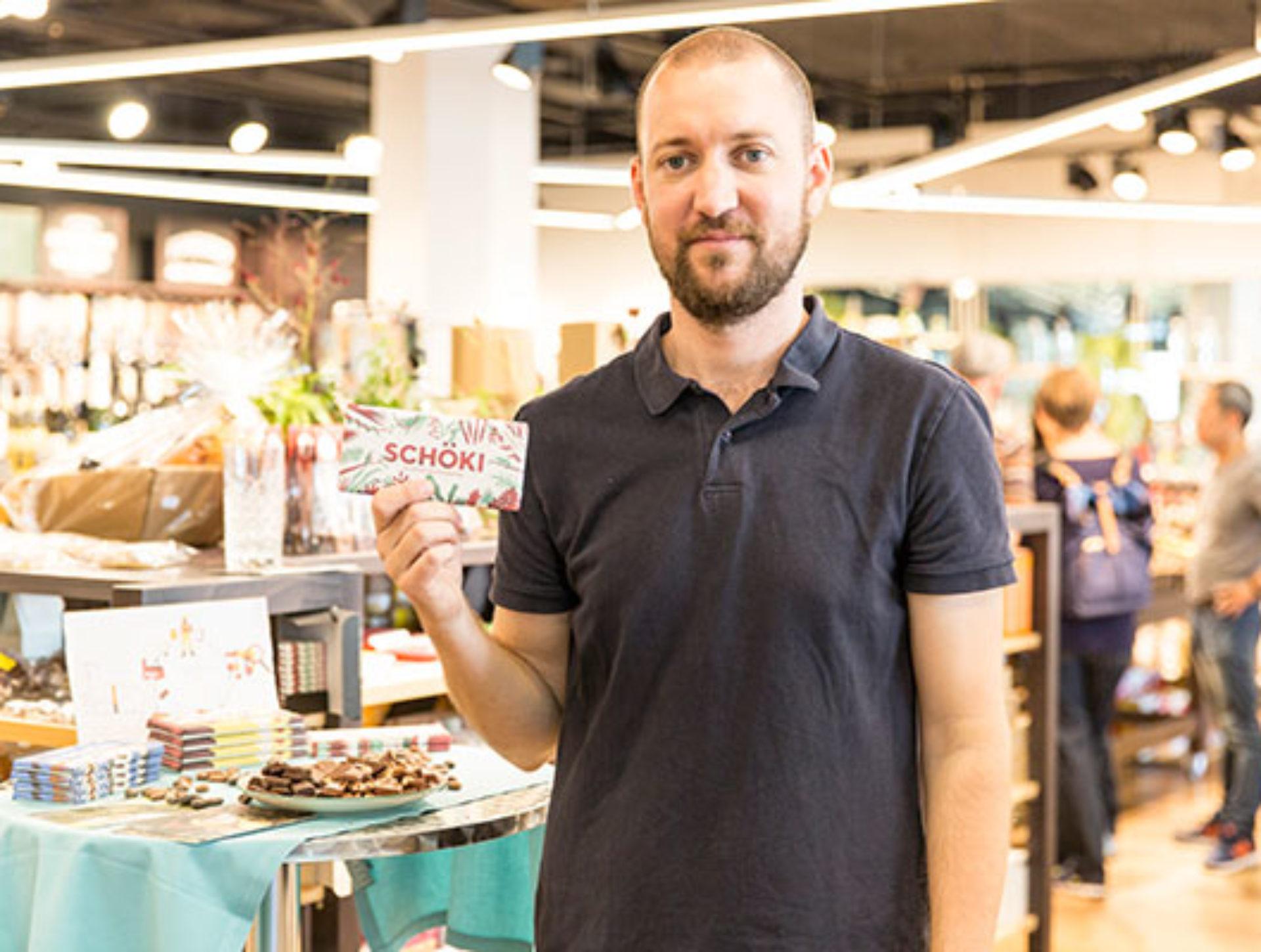 Florian Studer, Schöki «Der Quai4-Markt war unsere erste Verkaufsstation und hat unsere Innovation für fair produzierte Schoggi unterstützt, der richtige Ort für uns!»
